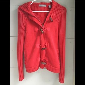 Red toggle sweater
